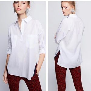 Zara white button down roll up sleeve top